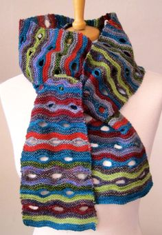 Knitting Pattern for Blinking Eye Scarf - Striped openwork scarf is great for stash and leftover yarn. Includes instructions for shawl as well. Designed by JeanMossHandknits