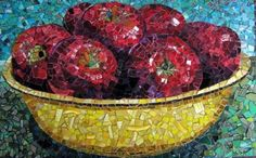 """Seven Red Apples"" - mosaic by Gail Troutman, via Red Raven Art Company;  15"" x 24"""