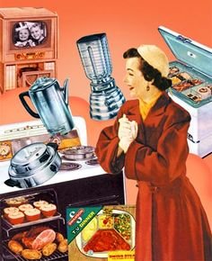 Fifties Vintage Happy Housewife thrilled at her plethora of small appliances!