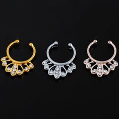 Silver plated fake septum ring with crystals New. Stunning silver plated fake septum ring with white crystals. Thank you for visiting my closet, please let me know if you have any questions. I offer great discounts on bundles  also available in gold and rose gold - there're separate listings for those. Boutique Jewelry