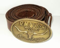R.M. WILLIAMS Brown Leather Vintage Belt with Buckle ( W 36 )  RMWILLIAMS 96b9962badfe4
