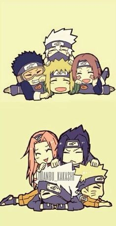 Naruto Day favorite team Well this is very tricky for me. I really like team Minato but then again I like Team Kakashi. :/ so both team Minato and Kakashi are my favorite teams! Naruto Team 7, Naruto Kakashi, Anime Naruto, Chibi Anime, Naruto Comic, Naruto Cute, Naruto Shippuden Sasuke, Boruto, Kawaii Anime
