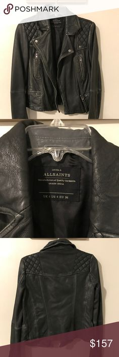 """AllSaints Cargo Leather Biker Jacket """"Cargo Leather Biker Jacket"""" from AllSaints. Center zip up, as well as zipper pockets. Very good condition, only worn a few times, not really my style. All Saints Jackets & Coats"""