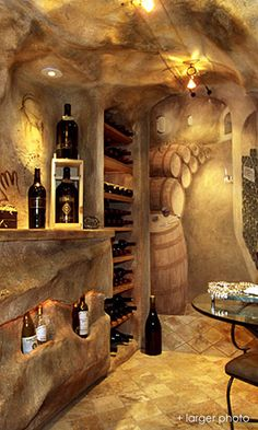 wine room with faux painting