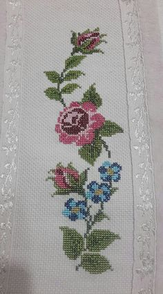 This Pin was discovered by Ays Hand Embroidery Design Patterns, Hand Embroidery Dress, Cross Stitch Embroidery, Cross Stitch Patterns, Crochet Patterns, Cross Stitch Heart, Cross Stitch Flowers, Palestinian Embroidery, Crochet Bedspread