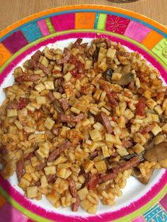 Auré et Le Secret Du Poids (LSDP) / Recettes et menus: Crozet bacon tomates et champignons (cookeo) Plats Weight Watchers, Bacon, Macaroni, Risotto, Breakfast Recipes, Grains, Food And Drink, Rice, Tasty