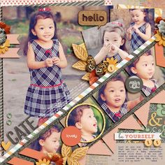 "Darling ""Hello Cate"" Scrapbooking Page... dianeskie: Two Peas in a Bucket. I love the unique layout on this one!"