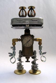 - Robot Assemblage Sculpture by Brian Marshall Recycled Robot, Recycled Art, Metal Yard Art, Scrap Metal Art, Sculpture Metal, Art Sculptures, Steampunk Robots, Metal Robot, Grand Art