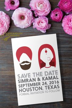 Indian Save the Date with Indian Silhouette by KiwiAndBacon on Etsy #Modern #Punjabi #Sikh
