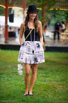 Black and White Newsprint Skirt, Parisian Ball - Gastro Chic