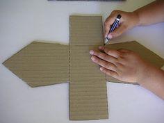 maak vogelhuisjes, mooi papier en of stof enz