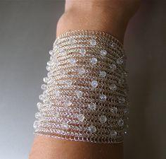Bridal cuff wire crochet handmade bracelet Crystal by KvinTal