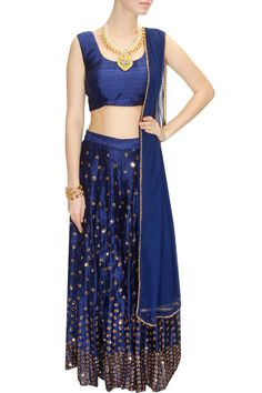 INTRODUCING : Navy blue sequins embellished sharara set by Astha Narang. Indian Attire, Indian Wear, Indian Dresses, Indian Outfits, Indian Clothes, Indian Reception Outfit, Blue Lehenga, Indian Bridal Lehenga, Desi Wear