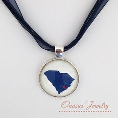 "Love Charleston Navy and White South Carolina State 1"" Round Glass Pendant with Silver or Gold Chain or Multi-strand Organza Necklace"