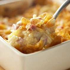 Add some ham to a classic cheesy potato dish and you have a family-friendly main dish that comes together in a flash.