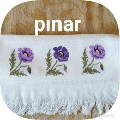 This Pin was discovered by Ayn Needlepoint, Cross Stitch Patterns, Diy And Crafts, Towel, Crochet, Letters With Flowers, Cross Stitch Flowers, Cross Stitch Alphabet, Bath Linens