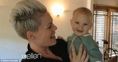 Pink and her baby Willow wishing Ellen DeGeneres a Happy Birthday I love pink and I love ellen!