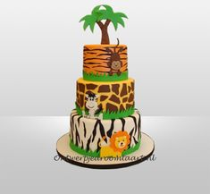Jungle Theme Birthday, First Birthday Party Themes, Boy Birthday, Birthday Cake, Jungle Cake, Jungle Party, Animal Cakes, Food Decoration, Pretty Cakes