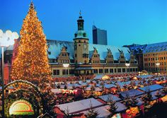 Leipzig, Germany, Christmas market by the Old Town Hall.looks like the north pole; Christmas Markets Germany, German Christmas Markets, Christmas In Europe, Winter Christmas, Winter Holidays, Christmas Time, Oh The Places You'll Go, Places To Travel, Places To Visit