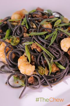 Yummy Black Spaghetti with Rock Shrimp and Chorizo by Mario Batali!  Even though this is best with black pasta and chorizo, you can also use regular pasta & hot Italian sausage in a pinch.