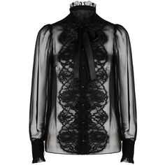 Dolce & Gabbana Lace Front Chiffon Shirt ($1,400) ❤ liked on Polyvore featuring tops, blouses, black blouse, black floral blouse, high neck blouse, black ruffle blouse and black floral shirt
