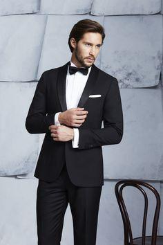 Montgomerie Black Tux; Wing Collar Tux Shirt; Mauricio Black Bow Tie