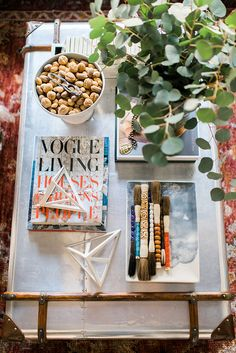 California vibes coffee table styling with Nate Berkus for Target | via Waiting on Martha. Rustic White Photography