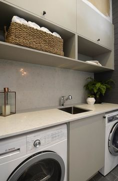 Beautiful laundry room inspiration- love this! The Block Glasshouse: Revealing the laundry, stairs and powder room / Darren & Dee Laundry Room Cabinets, Laundry Room Organization, Laundry Storage, Laundry Shelves, Open Cabinets, Open Shelves, Small Laundry Rooms, Laundry In Bathroom, Small Laundry Sink