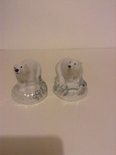 Set of Pfaltzgraff Winter Ceramic Frost Polar Bears Kitchen Salt Pepper Shakers #Pfaltzgraff