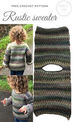 Rustic sweater crochet pattern – Adult XXL, pattern, crochet sweater, women's clothing, baby… Free Knitting, Baby Knitting, Knitting Patterns, Crochet Patterns, Knitted Baby, Dress Patterns, Pull Crochet, Free Crochet, Knit Crochet
