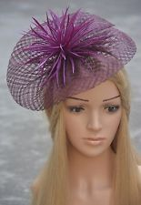 Womens Sinamay Feather Fascinator Cocktail Hat Wedding Kentucky Derby Party K118