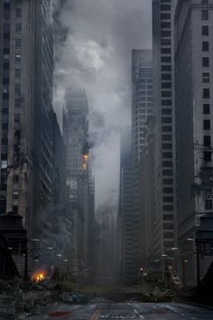 Chicago in ruins, hard work has clearly gone into creating this concept art and would be a great influence for a Zombie outbreak/apocalypse. Apocalypse Aesthetic, Apocalypse Art, Cyberpunk, Art Sombre, Post Apocalyptic City, Wattpad Background, Travel Photographie, Ruined City, Matte Painting