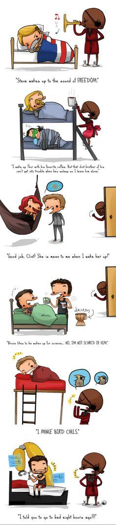 Even the avengers gotta sleep  sometime... Except for Iron Man