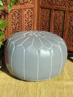 Moroccan leather pouffe in grey