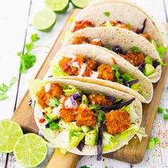 These vegan cauliflower tacos with vegan yogurt garlic sauce are the perfect comfort food! They're super crispy, easy to make, and sooo delicious!!