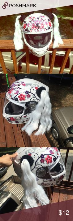 💟💟Motorcycle or bicycle helmet white pig tails!! Suction cup white pigtails for motorcycle or bicycle helmet. Can be braided or not. I wore them braided due to the wind. If you ride a motorcycle the wind will tangle them. Approximately 12 inches long. I will send you instructions on how to apply on the helmet and maintain. Retails at $23 on eBay plus shipping. Listed as Abercrombie and Fitch for exposure and I wasn't sure what to list them as. Helmet not included. Abercrombie & Fitch…
