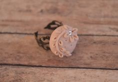 Hand Made Clay Cabochon on Antiqued Brass Filigree by AidensBrook, $14.00