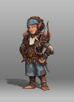 A character from one of our tabletop rpgs, the (now deceased) Halfling travel cleric. He was a bit unhinged and didn't survive an encounter with a yeth hound... RIP. Halfling or hobbit ranger