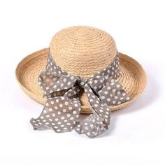 Polka dot ribbon bow straw hat for women bowler sun hat travel wear