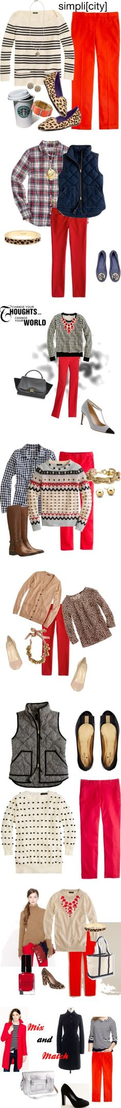 """""""Red Pants"""" by fashionancient ❤ liked on Polyvore"""