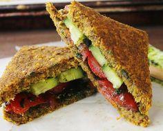 Raw Vegan Tomato Cucumber Sandwich on Onion Corn Bread
