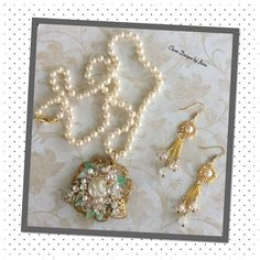 FUF 1/29 .. Pearl Caged Necklace Set .. B'sue component's used are .. Filigree Stampings, Leaves, Flowers, Flat Back Pearls and Rhinestone .. Everything else is from my stash .. Clever Designs by Jann .. https://www.etsy.com/shop/CleverDesignsbyJann