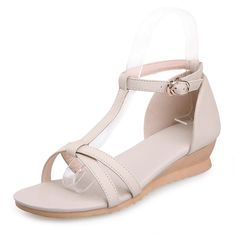 WeiPoot Women's Buckle Open Toe Low-heels Cowhide Solid Wedges-Sandals >>> You can get more details by clicking on the image.