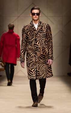 Camel striped animal print caban and animal print sunglasses on the runway of the Burberry A/W13 Menswear show