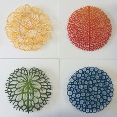Fragility of Nature by Meredith Woolnough.  All pieces mimic the fragility of objects ranging from veiny leaf skeletons to the elaborate structure of coral - uses a sewing machine to create the sculpted piece. When she is finished, the base fabric dissolves in water, leaving only the artist's beautifully detailed stitchwork. She then mounts each piece with pins onto paper, setting it slightly away from the background to create shadows and depth that add to the allure of the piece.