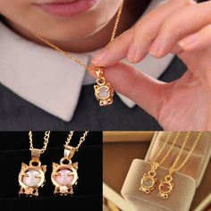 Charming Jewelry Lucky Cat Shaped Pendent Necklace 2 Colors White Pink Opal Jewelry Gifts For Women Pink Pearl Necklace, Cat Necklace, Pearl Pendant Necklace, Cat Jewelry, Jewelry Gifts, Pink Opal, Gifts For Women, Pearls, Colors