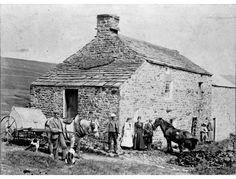 Hill End    Group with horses outside Hill End (now beneath Burnhope Reservoir), above Wearhead. The Peart Brothersare on the left with Nick Peart's family, also two girls from Whin Syke, 1900s.