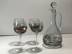 Antique Art Deco Decanter & Glasses Set