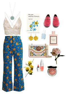 """""""Ready for spring"""" by ratjuli ❤ liked on Polyvore featuring Gucci, Simon & Schuster, Essie, Abigail Ahern, Lancôme, Chantecaille, LC Lauren Conrad, Spring, floral and gucci"""