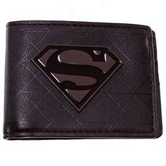 Black Superman Gunmetal Logo Bifold Wallet @ niftywarehouse.com #NiftyWarehouse #Superman #DC #Comics #ComicBooks